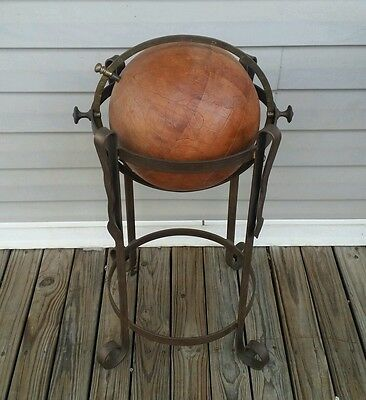 "Antique Leather World Globe 12"" Terrestrial On Wrought Iron Stand ""Free Shipping"