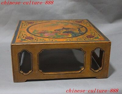 Old Chinese noble lacquerware wood crane bird pine flower statue Tea table desk