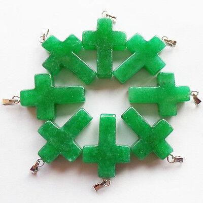 Q47932 Beautiful Carved Green Jade Cross pendant bead 8pcs