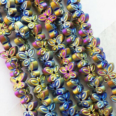 QSAM2508 Beautiful 1 strand Carved color Hematite Butterfly loose bead 15.5 inch