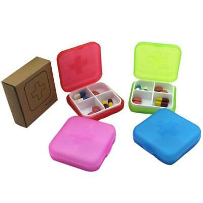 New Health Medicine Case Medical Pill Box Travel 4 Slot Case Storage Organizer W