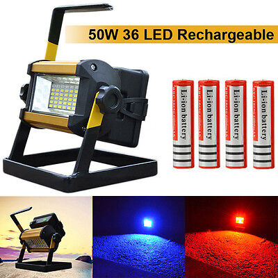 NEW 50W 36 LED Portable Rechargeable Flood Light Spot Work Camping Fishing Lamp