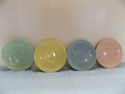 "Luray Paste  4 SAUCERS  6""  PINK  BLUE  GREEN YELLOW (R4-2)"