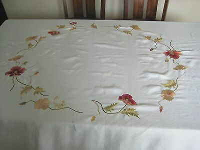 Antique Embroidery Trim Field Poppy Needle Crochet Lace Tablecloth 114''x 90''