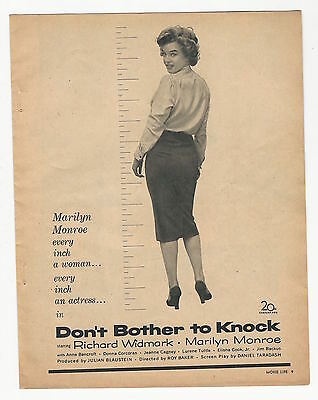 """1952 MARILYN MONROE MOVIE AD, """"Don't Bother to Knock""""  VINTAGE ADVERTISING"""