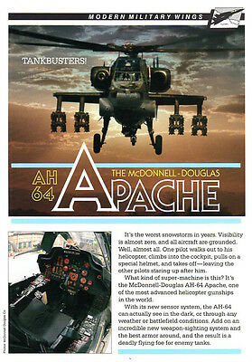 "McDONNELL-DOUGLAS  AH-64  APACHE  HELICOPTER  FACTS - 7 "" x 10 "" -  BOTH  SIDES"