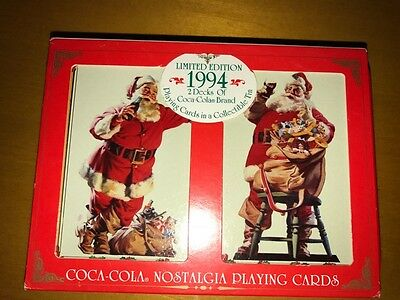 Coca Cola Nostalgia Playing Cards with Tin 1994, Contains 2 Unopened Decks - NEW
