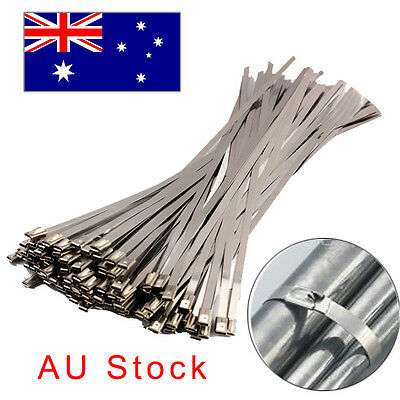 100pcs Strong Stainless Steel Exhaust Wrap Coated Metal Locking Cable Zip Ties