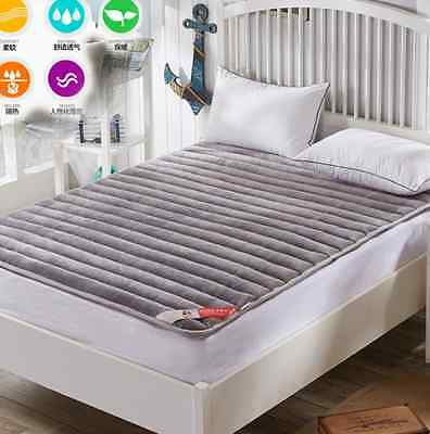 Single Queen King Mattress Pad Topper Flannel Grey Mat Soft Thick Warm Home L