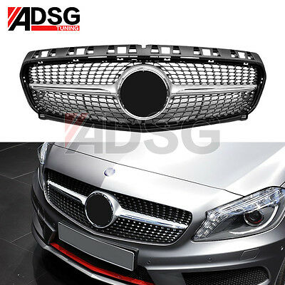 For Mercedes Benz W176 A Class Diamond Design silver Sport Grille Grill 2013- 15