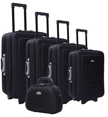Delegate 5pc Suitcase Trolley Travel Bag Luggage Set BLACK