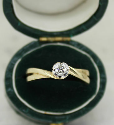 Vintage 9Ct Gold Diamond Solitaire Ring, Size P (Us 71/2), Engagement,tcw 0.18Ct