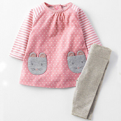 Jumping Baby Girls Cotton Dress Set Outfit 2 Piece Top Blouse Age 2 3 4 5 6 7