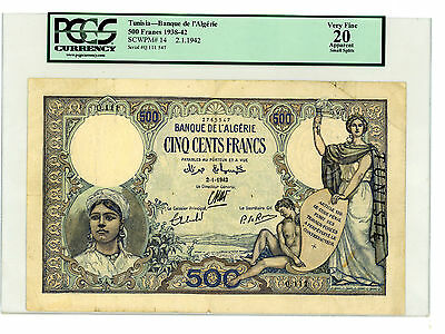 Tunisia … P-14 … 500 Francs … 2-1-1942 … *F-VF*