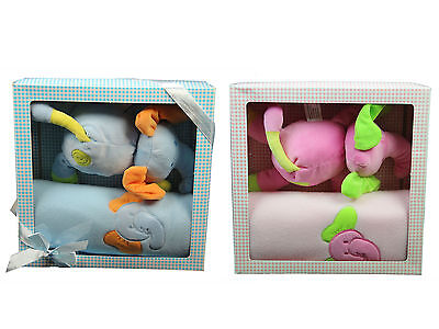 Bee Bo Newborn Infant Pram Blanket Elephant Toy Boy Girl 2 Piece Gift Set Box