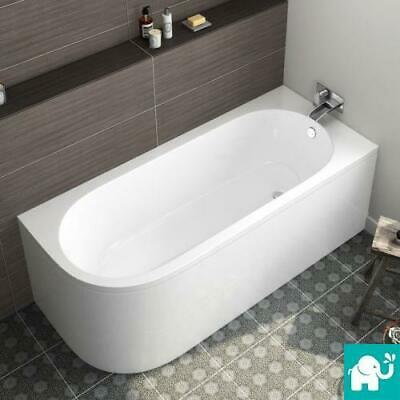 Modern Bath D-Shape Back To Wall Corner Bathtub Pivot Shower Screen Gloss White