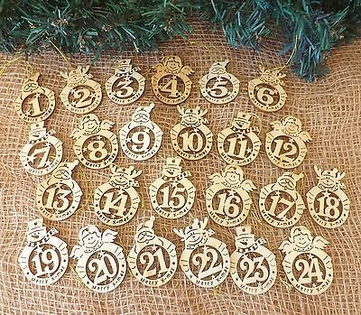Nordic Christmas Tree Decoration 24 Round Wooden Advent Calendar Tags Santa