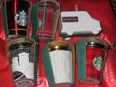 6 Starbucks Ornaments 2016 Collectors Christmas Collection NEW