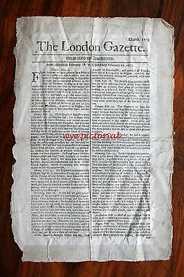 London Gazette Original  Feb 18 - 21 1677 - Siege At Taormina Nr Messina Sicily