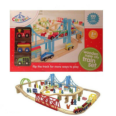 Carousel 100 Piece Wooden Super City Train Set Brio Compatible Railway Track