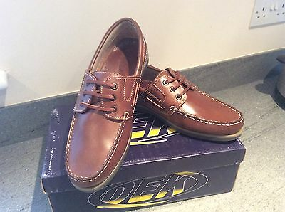 Men's brown leather moccasin boat shoes