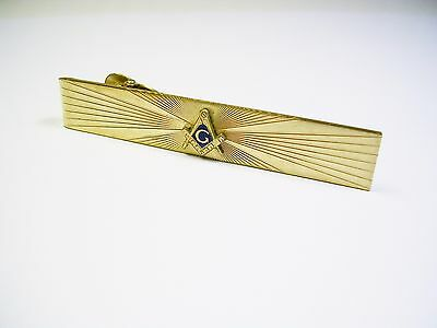 Vintage Freemason Tie Clip Gold Filled Masonic Tie Bar Blue Lodge Fraternity