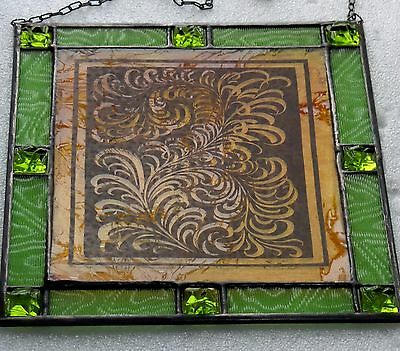 Leaded Glass Window Image Art Nouveau Stained Royal Fern with Reliefs