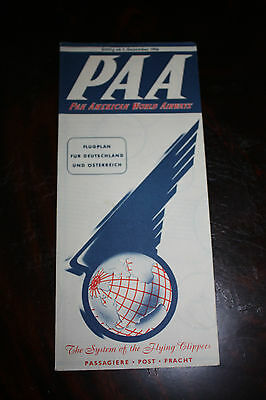 Timetable Paa Pan American World Airways 1956 For Germany & Austria