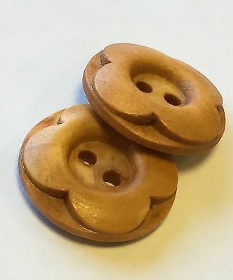 Wooden Round Flower Design Buttons 2 Hole 20mm Pack Of 10