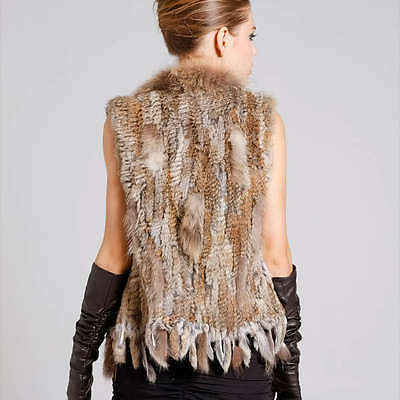 HOT! Real Knitted Rabbit Fur Waistcoat/Vest/Gilet with Raccoon collar