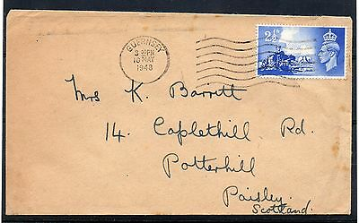 GUERNSEY = 1948 2-1/2d Liberation on Plain FDC to POTTERHILL, PAISLEY. SCOTLAND.