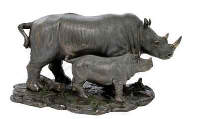 Rhino And Baby Rhino Sculpture Statue Figurine