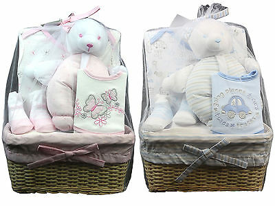 Bee Bo Newborn Baby Infant 5 Piece Boy Girl Socks Bodysuit Gift Box Basket Set