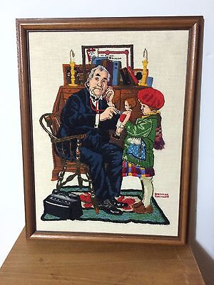 Norman Rockwell - Doctor And Doll - Wood Framed Crewel Needle Point