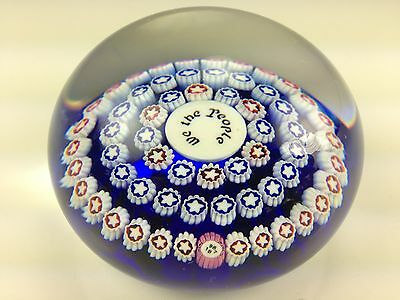 Baccarat We The People Red White & Blue Star Millefiori 1987 Crystal Paperweight