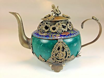 Chinese Vintage Small Jade Teapot  Dragon Protected with Monkey/Frog Lid Signed