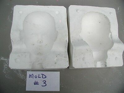 unmarked Doll Head 7 1/4 by 4 1/4   Casting Mold Ceramic - Porcelain