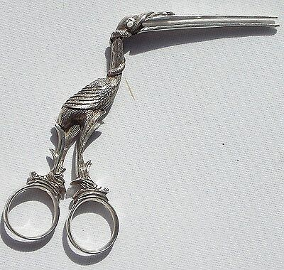 Rare 18Th Century Novelty Solid Silver Stork Umbilical Cord Clamp/ribbon Pullers