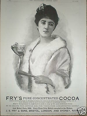 Fry's Pure Cocoa pretty lady advert 1890