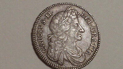 1677 Half-Crown. Charles 11.Higher Grade.Very Rare thus.British Early Milled.