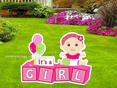It's a Girl Lawn Baby Sign Announcement (New Baby Pink Yard Sign - Die Cut Stork