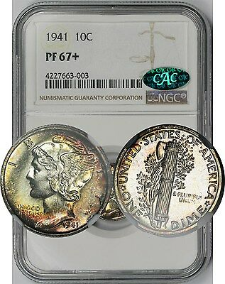 1941 Mercury Dime 10C Proof PF 67 + Plus NGC CAC Approved ~ Rainbow Color Tone