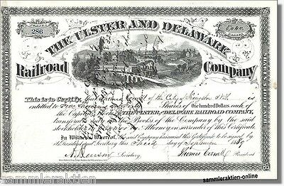 Ulster and Delaware Railroad Company Kingston, New York -sehr seltene Aktie 1889