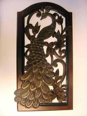 "Peacock CUTOUT Panel Wood tone Resin Plastic Wall Hanging 25 x 13"". Gold accent"