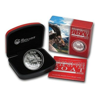 2015 Australia 1 oz Silver Year of the Goat Proof Lunar (High Relief)