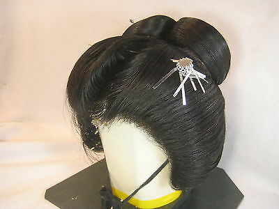 Vintage Japanese   Real Human Hair Geisha Wig With Case & 4 Hair Pieces