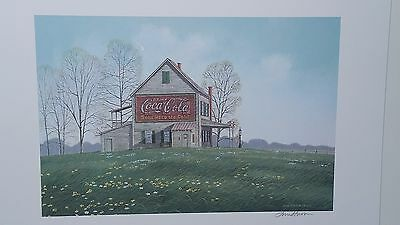 COCA COLA and Spring Flowers, Jim Harrison, Old Building With Gas Pump