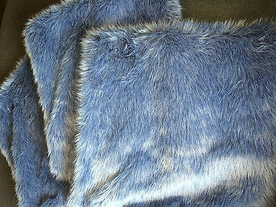 """3 Blue Furry Fluffy Plush 20"""" Square Toss Pillow Cases Covers only NEW"""