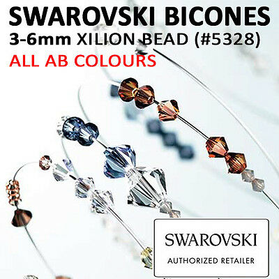 SWAROVSKI Crystal Xilion BICONES Beads 3mm, 4mm, 5mm & 6mm #5328: ALL AB COLOURS