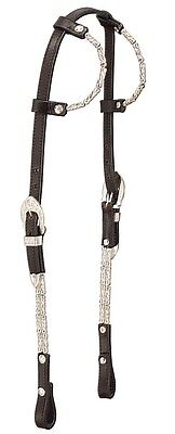 Western Silver Ferrule Show Headstall - Bridle - Double Ear - Dark Oil Leather